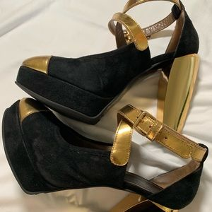 Marni Black Suede and Gold Platforms size 37